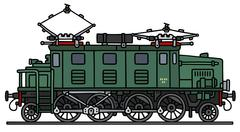 Vintage electric locomotive Stock Illustration