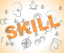 Skill Word Indicating Competence Skilled And Aptitude - stock illustration
