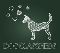 Dog Classifieds Meaning Puppies Pups And Canine Stock Illustration