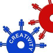 Creativity Cogs Representing Gear Wheel And Imagination - stock illustration