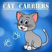 Cat Carriers Representing Pedigree Cage And Crate Stock Illustration