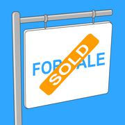 House Sold Meaning Bungalow Properties And Signage - stock illustration