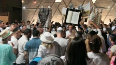 Final part of the Simchat Torah ceremony with Chuppah and  Bible scrolls Stock Footage