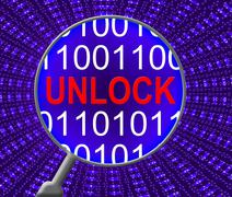 Unlock Computer Meaning Web Site And Net Piirros