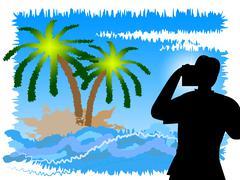 Vacation Photographer Indicating Cameras Holidays And Camera - stock illustration