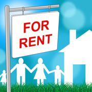 For Rent Indicating Placard Household And Rental Stock Illustration
