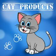 Cat Products Showing Feline Pedigree And Shopping Stock Illustration