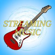 Streaming Music Indicating Sound Track And Download - stock illustration