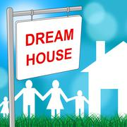 Dream House Meaning Residential Housing And Greatest - stock illustration