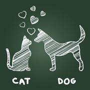 Pets Love Meaning Domestic Cat And Puppy - stock illustration
