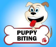 Puppy Biting Representing Attack Doggie And Bite - stock illustration