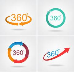 Angle 360 degrees sign icon - stock illustration