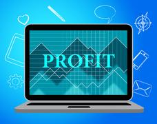 Profit Laptop Meaning Web Site And Success - stock illustration
