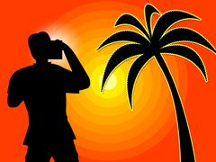 Sunset Photographer Showing Tropical Island And Holiday - stock illustration