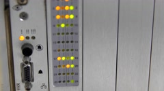 Lights blinking on the telecommunications server - stock footage
