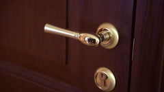 A man opens the door with the gilded handle Stock Footage
