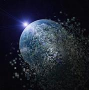 Earth dissolving into pixels in outer space Stock Illustration
