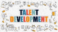 Multicolor Talent Development on White Brickwall. Doodle Style - stock illustration