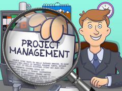 Project Management through Magnifier. Doodle Concept Stock Illustration