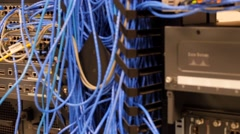 Mess of cables in telecommunications room - stock footage