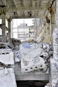 Pieces of Metal and Stone are Crumbling from Demolished Building Floors Stock Photos