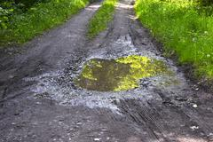 Puddle on a rural dirt road with reflection and green grass Stock Photos