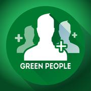 Teamwork, association of green people sign icon. Flat design style Stock Illustration