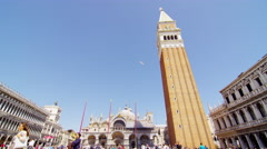 Tower at the San Marco Place in Venice Italy Stock Footage