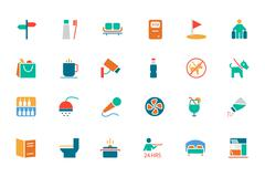 Hotel and Restaurant Colored Vector Icons Stock Illustration