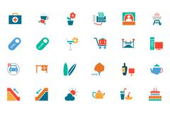 Hotel and Restaurant Related Colored Icons Stock Illustration