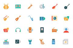 Music Colored Vector Icons Set - stock illustration