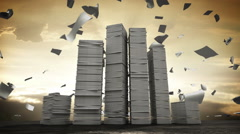 Stressful business work, too many stack of paper. concept in overload work. - stock footage