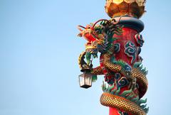 Chinese dragon with lamp decorated on the red post Stock Photos