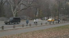 Traffic and People in Central Park Stock Footage