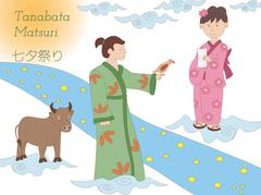 Milky Way, couple and cow. Tanabata legend. - stock illustration