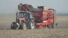 Tractor trailed harvester rides on a dusty field and collecting potatoes Stock Footage