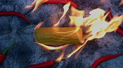4k shoot of a creative composition with corn and chilli on fire - stock footage