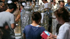 Closeup video with unidentified people on  Simhath Torah ceremony Stock Footage