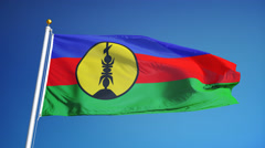 New Caledonia flag in slow motion seamlessly looped with alpha Stock Footage