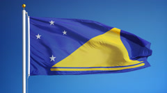 Tokelau flag in slow motion seamlessly looped with alpha Stock Footage