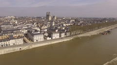 The loire river and the Orleans cathedral in France shooted with a drone  Stock Footage