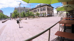 Outdoor sitting area of the restaraunt next to the Denver Union Station. Stock Footage