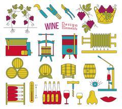 Wine making and wine tasting flat design elements - stock illustration