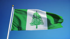 Norfolk Island flag in slow motion seamlessly looped with alpha Stock Footage