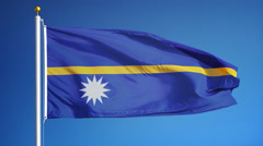 Nauru flag in slow motion seamlessly looped with alpha Stock Footage