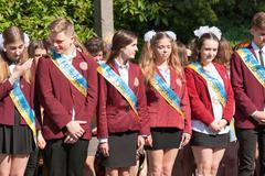 Editorial reportage Last bell Lutsk 11th grade high school 14 celebration was Stock Photos