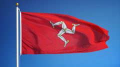 Isle of Mann flag in slow motion seamlessly looped with alpha Stock Footage