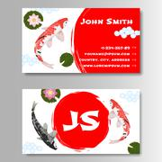 Carp Koi Asian style template business card Stock Illustration