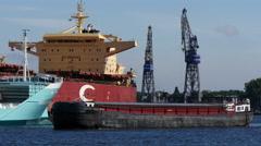 Vessel sailing in port, 4k shot. Stock Footage