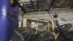 View of cabin mast lift trucks with leather seat in skatepark. Preparation to Stock Footage